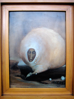 """Borrego Leon"" 1959, Oil on masonite, 15 ¾ x 11 ⅘ inches (40 x 30 cm). Exhibitions: Museo Nacional de Artes Plasticas, Label: Instituto Nacional De Bellas Artes, Museo Nacional de Artes Plasticas"
