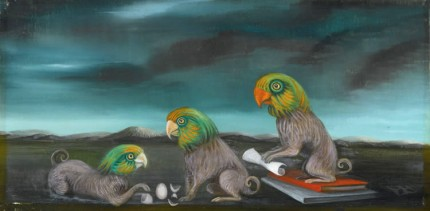 """Chimerical Parrots I"" c. 1970s, Oil on plastered linen, 15 x 30 inches, Signed monogram"