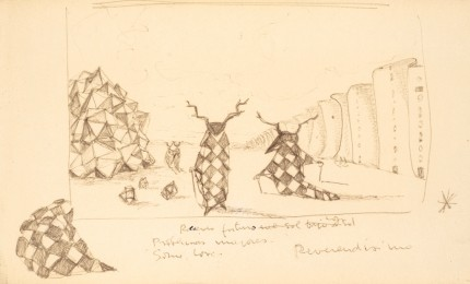 """""""Reverendisimo I"""" (Study for Paintings) Ink drawing of paper, 5 x 8.5 inches, Dated: 1967"""