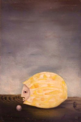 """""""Somnabula"""" Oil on panel, 19 ⅝ x 11 inches (50 x 28 cm), Signed"""