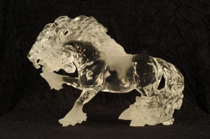 "Gypsy Fire in Lucite, 22"" L x 10"" D x 21"" H"
