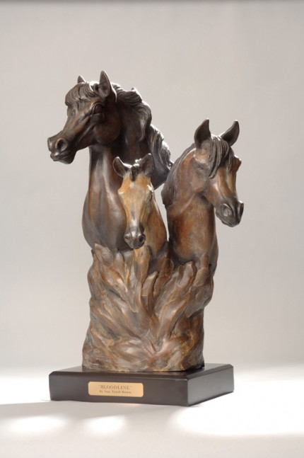 """Bloodline"" A bust of 3 Arabians - stallion, mare with foal depicting the circle of life with busts coming from the flames of life. (L.E. 50) 12""L x 12"" W x 20""H - Wood Base"
