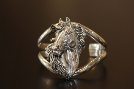 Horse Head Cuff Bracelet — The popular cuff bracelet which can include accents of 14 ct gold and/or meticulously placed diamonds within this smart and gallant equine depiction.
