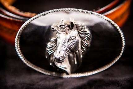 Horse Head Belt Buckle — The horse head motif is set within sterling silver throughout and wrapped with a classic twisted elegant silver rope.  Available with or without diamond and 14 ct gold accents.