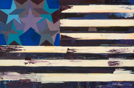 """New Flag 1"" Acrylic on wood, 24 x 36 inches"