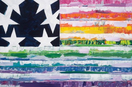"""New Flag 2"" Acrylic on wood, 24 x 36 inches"