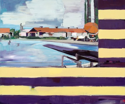"""Public Pool Flag"" Acrylic on wood, 40 x 48 inches"