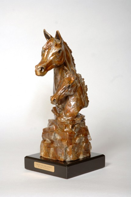 """Next Generation"" Arabian mare & foal bust are sculpted on a stacked Pile of rocks to depict the ""building blocks of life"" - contemporary patina. (L.E. 50) 8""L x 9""W x 18""H - Wood Base"