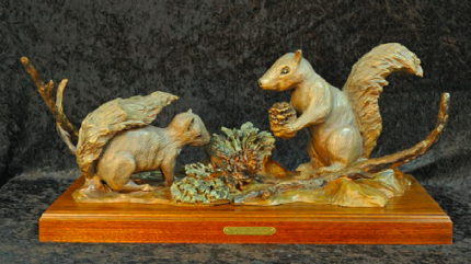 """Winter Hoarding"" Two characteristic squirrels preparing their winter feast. Available in bronze finish or colored patina (L.E.) Signature Edition (L.E.) Special Artist Proof 28""L X 12"" W X 12"" T"