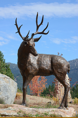 """Stubborn as a Mule"" This life-sized Mule Deer stands proud and ideal for a home's entry or garden. (L.E. 20) Special Edition 5.6' L X 3' T to Shoulder; 350 lbs."