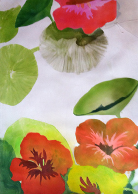 """Nasturtiums"" Oil on canvas, 60 x 36 inches, Signed"