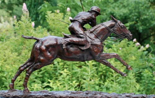 "Lorne McKean, British Contemporary ""Adolfo Cambiaso on his famous stallion Aiken Cura"" View from right, Edition 2 of 25, Bronze on black granite base, 33 x 22 x 8 inches, 16 kg, Signed and Numbered on bronze base"