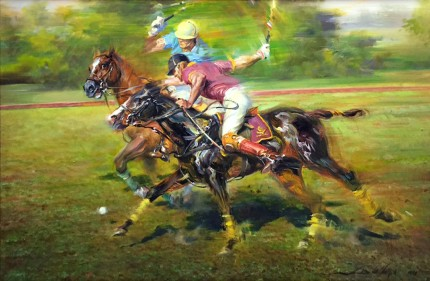 """Going to Goal"" 1988, Oil on canvas, 24 x 36 inches, 32 x 42 inches, Framed, Signed & Dated"