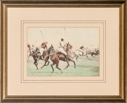 "George Wright, British (1860-1942) ""Down the Field"" Print, 4.25 x 6.25 inches, Signed bottom right"