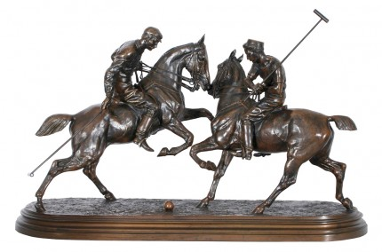 "Isidore Jules Bonheur (French, 1827 - 1901) ""Polo Players"" Bronze, Light brown patina, 13 x 23 inches, Numbered and Signed: Isidore Bonheur. Note: Casts of this model are extremely rare, with only two other examples known of the complete group. Exhibited French Salon, 1897. The Noble Horse - Man and Horse in Western Art History, April 4 - May 26, 1998. The Metropolitan Teian Art Museum, cat. no. 77, page 130. Illustrated Watson, J.N.P. (ed.) Collecting Sporting Art. London: The Sportmans Press, 1988, p. 98. Watson, J.N.P. The World of Polo Past and Present. Topsfield, MA: Salem House Publishers, 1986, p. 37."