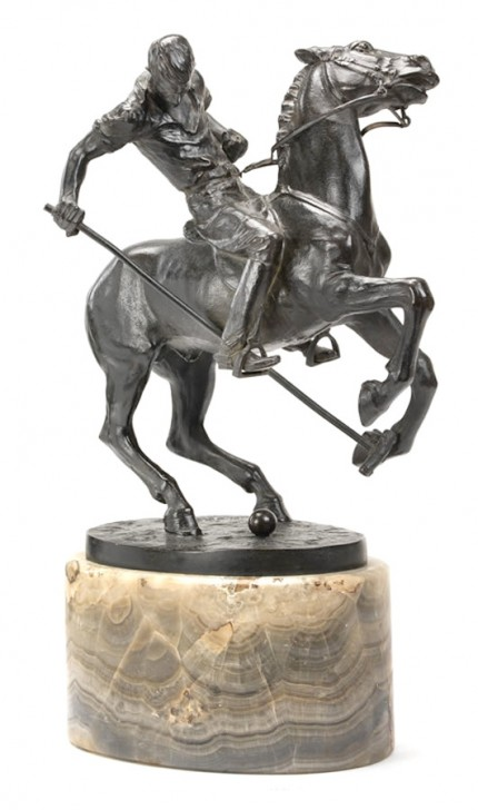 "John Wolfgang Elischer, Austrian (1891-1966) ""Tommy Hitchcock"" Bronze, 12 x 10 x 6 inches, With base: 16 inches high, Signed & Dated 1922"