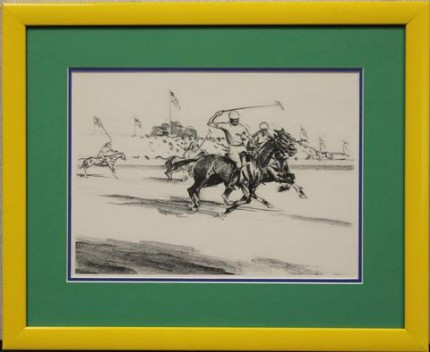 "Joseph Webster Golinkin, American (1896-1977) ""International Polo Match 2"" Charcoal on paper, 8.25 x 11.25 inches"