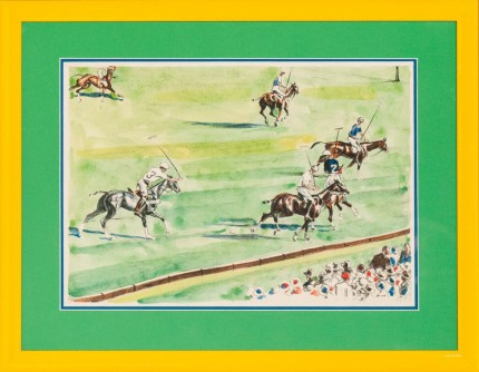 "Joseph Webster Golinkin, American (1896-1977) ""Six Polo Players"" Coloured print, 10.25 x 14.75 inches"