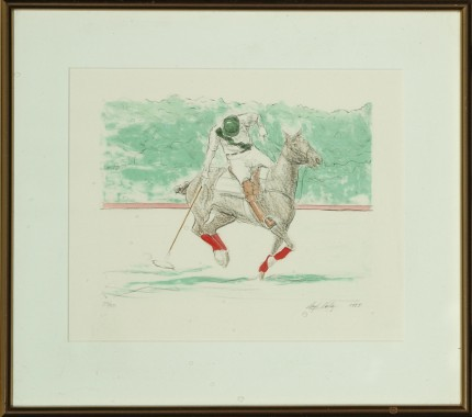 "Lloyd Kelly, American Contemporary ""Polo Player Up"" Hand-coloured print, Limited edition 25/50, 9 x 11 inches, Signed & Numbered lower right"