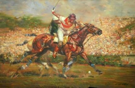 """Marcos Heguy (Indios Chapaleufui) vs. La Espadana, Argentine Open, Palermo, 1988"" Oil on canvas, 24 x 35 inches, Signed"