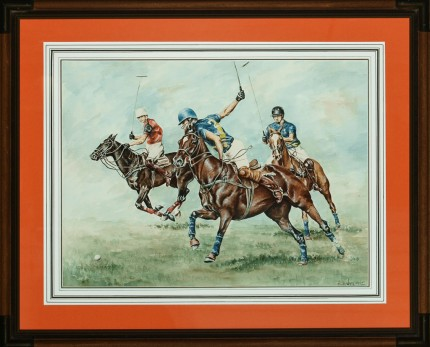 "Hubert de Watrigant, French (b. 1954) ""The Hipwood Brothers"" c. 1980, Watercolour on paper, 16.25 x 22.25 inches, Signed lower right 