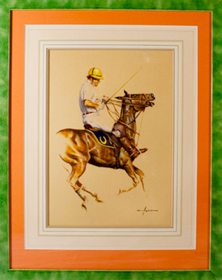 "Portrait of Memo Gracida ""Taking the Reins"" Watercolour on paper, 15 x 10.75 inches, Signed bottom right"