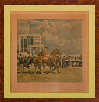 "Sir Alfred J. Munnings, British (1878-1959) ""Going Out at Epsom"" Print, Published by Frost & Reed in 1932, 23.75 x 22.75 inches, Signed in pencil lower right"