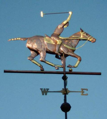 """Polo Horse Weathervane"" Available in 2 foot, 3 foot, or 4 foot versions. Prices vary with the fluctuations in the metals market."