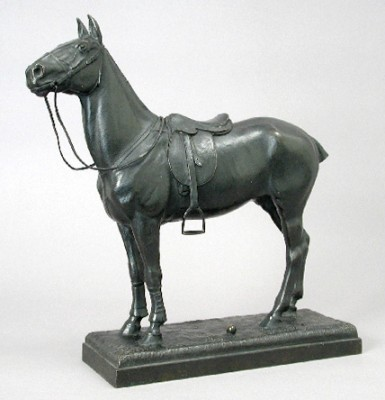 "Alexander Pope (American, 1849 - 1924) ""Polo Pony"" Bronze, Dark brown patina, 15 x 15 ⅛ x 4 ¼ inches, Signed and Numbered, left rear top of base: POPE. Stamped, rear vertical edge of base: Gorham Co Founders, Q443."