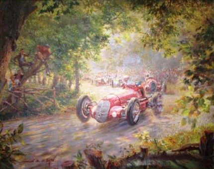 """The Race Through the Trees"" Oil on canvas, 48 x 56 inches, Signed"