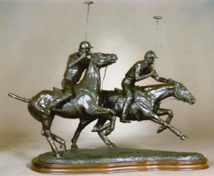 "Gill Parker, British Contemporary ""Polo VIII: Slipping His Man"" Bronze, Edition 9 of 9, 14 x 23 inches, Signed and Numbered. Last one in the edition."