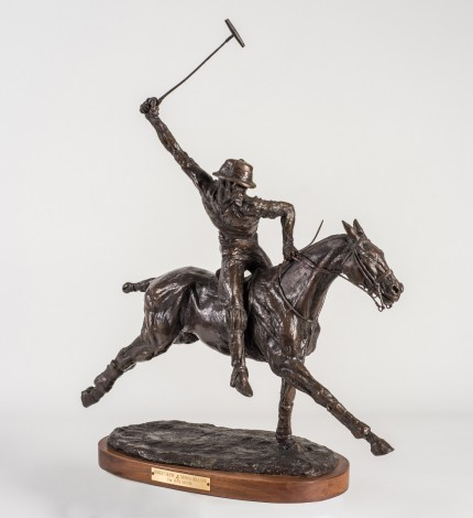 "Tom Holland, American (1917-2004) ""Robert 'Hurricane Bob' Skene"" Bronze, 22 x 23 x 10 inches, Signed & Dated 1971"