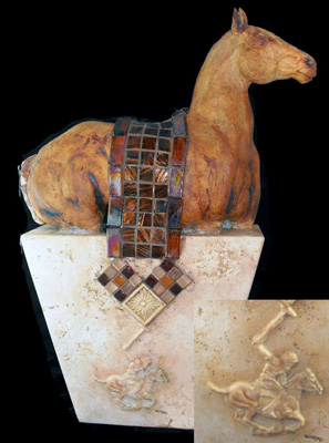 "Tammy Bality, American Contemporary ""Coolin' Down"" Hand-built from stoneware clay (one of a kind), travertine base with added polo player relief, glass mosaic blanket, 26 x 14 x 6 inches, 25 lbs., Signed and Numbered"