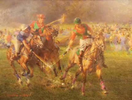 "Alfredo De la María, Uruguayan Contemporary ""A Keen Contest"" Oil on canvas, 27 x 35 inches, 34 x 42 inches, Signed & Framed"