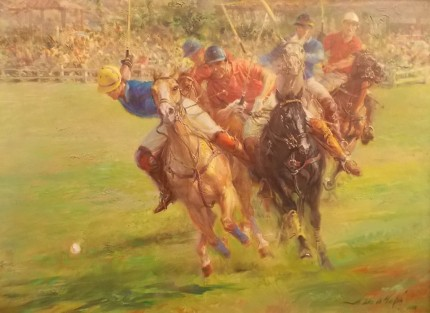 "Alfredo De la María, Uruguayan Contemporary ""A Spirited Chase"" Oil on canvas, 23 x 31 inches, 31 x 38 inches, Signed & Framed"