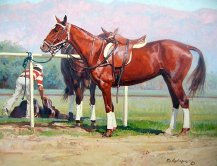"Roy Anderson, American (b. 1930) ""Polo Ponies: Polo Line"" Oil on linen, 20 x 24 inches, Signed. CAA member artist well known for his desert southwest colors. Very HOT artist now, highly collectible."