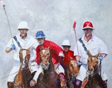"Charo Aymerich, Spanish Contemporary ""Partido de Polo"" Limited Edition of 25, Giclée print, Somerset velvet paper, 50 x 45 cm (Image 40 x 32 cm), Signed, Numbered and Dated 2005"