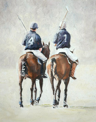"Charo Aymerich, Spanish Contemporary ""Polo Players II"" Limited Edition of 25, Giclée print, Somerset velvet paper, 50 x 60 cm (Image 40 x 50 cm), Signed, Numbered and Dated 2006"