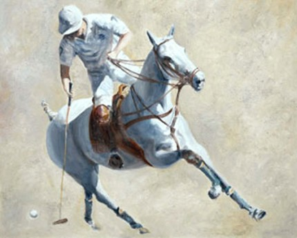 "Charo Aymerich, Spanish Contemporary ""Polo en Blanco"" Limited Edition of 25, Giclée print, Somerset velvet paper, 66 x 55 cm (Image 60 x 48 cm), Signed, Numbered and Dated 2006"