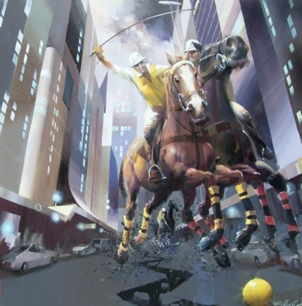 "Charles Billich, Croatian Contemporary ""Polo in the City"" Oil on canvas, 1 x 1 meter, Signed"