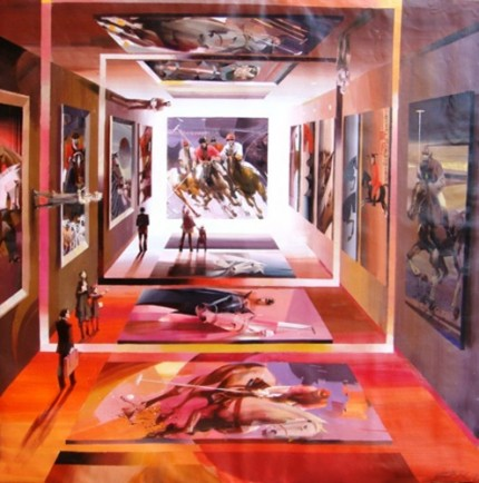 "Charles Billich, Croatian Contemporary ""The World of Polo"" Oil on canvas, 1 x 1 meter, Signed"
