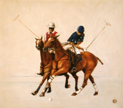 "Mary Bridgman, American Contemporary ""Polo Study - Oil Sketch I"" Oil on linen, 14 x 16 inches, Signed"