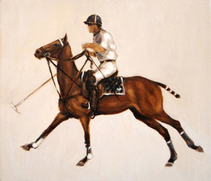 "Mary Bridgman, American Contemporary ""Polo Study - Oil Sketch II"" Oil on linen, 14 x 16 inches, Signed"