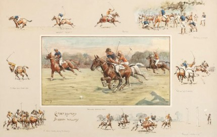 "Snaffles, British, (1884-1967) ""Carpet Beaters vs. Bobbery Wallahs"" c. 1930, Handcolored print, 17.7 x 27.8 inches (45 x 70.5 cm) Numbered in pencil bottom left, Embossed Snaffles Bits stamp on the mount"