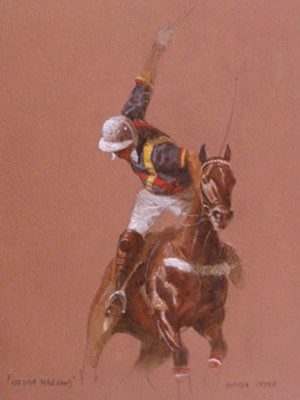 "Enrique Castro, Argentine Contemporary ""Offside Forehand II"" Oil on paper, 12 x 16 inches, Signed"