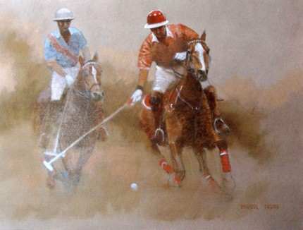 "Enrique Castro, Argentine Contemporary ""On The Ball"" Oil on paper, 12 x 16 inches, Signed"