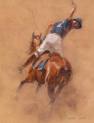 "Enrique Castro, Argentine Contemporary ""Polo Player #2"" Oil on paper, 13 x 10 inches, Signed"