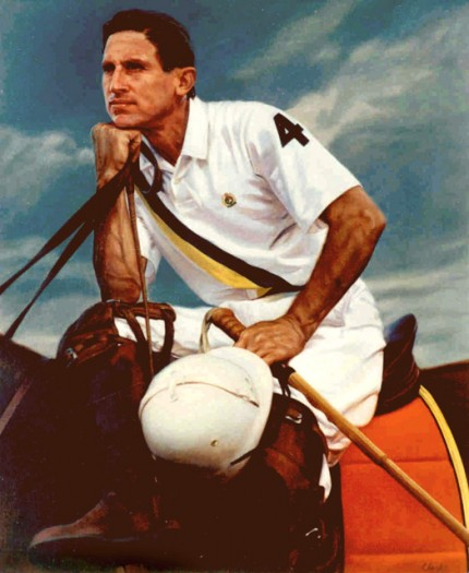 "Lonni Clarke, American Contemporary ""Polo Player"" 1992, Oil on linen, 36 x 28 inches, Signed. Commission for Ralph Lauren/Polo"