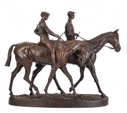 "Emmanuel Frémiet, French (1824-1910) ""Chevaux de Course et Jockeys"" (A Pair of Mounted Jockeys), Bronze with brown patina, 18 x 22 inches, Signed: E. FREMIET"