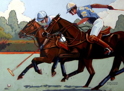 "William Ersland, American Contemporary ""Polo Classic"" Acrylic on board, 18 x 24 inches, Signed"